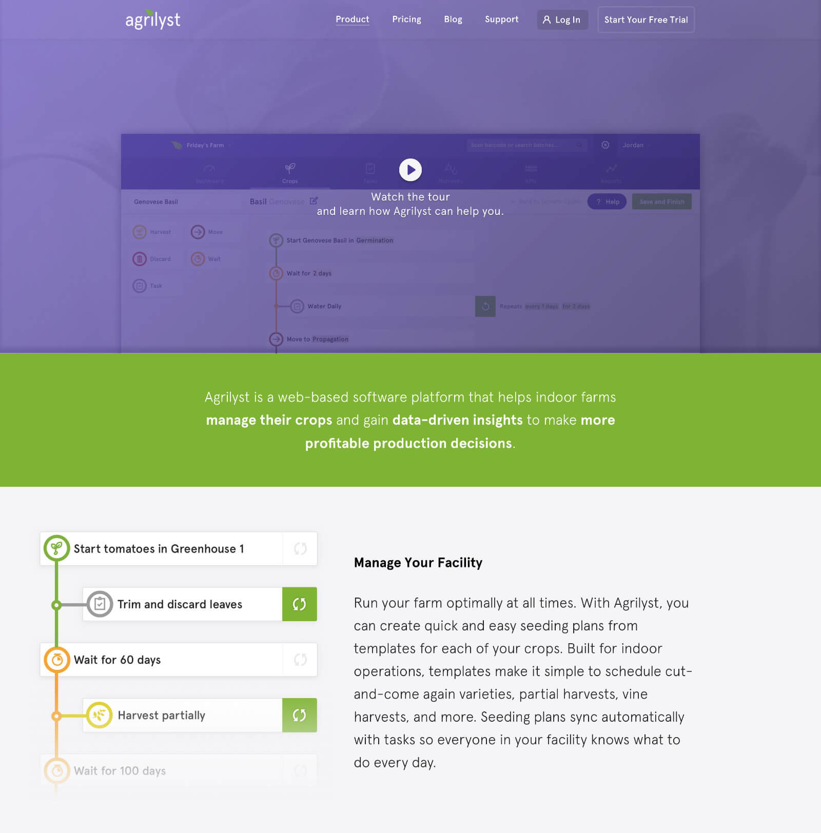 Agrilyst Marketing Site — Product Page