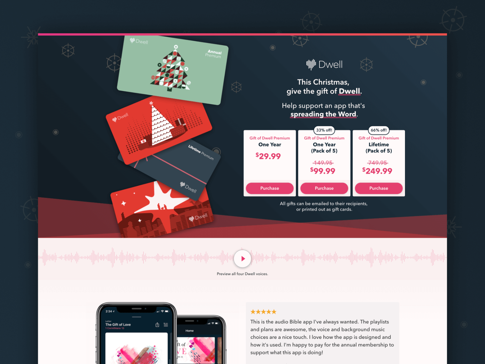 Landing page for the Dwell Christmas promotion
