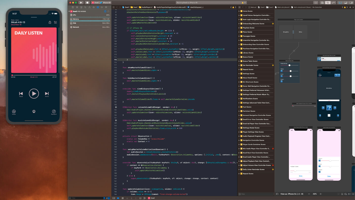 Working on Dwell in Xcode