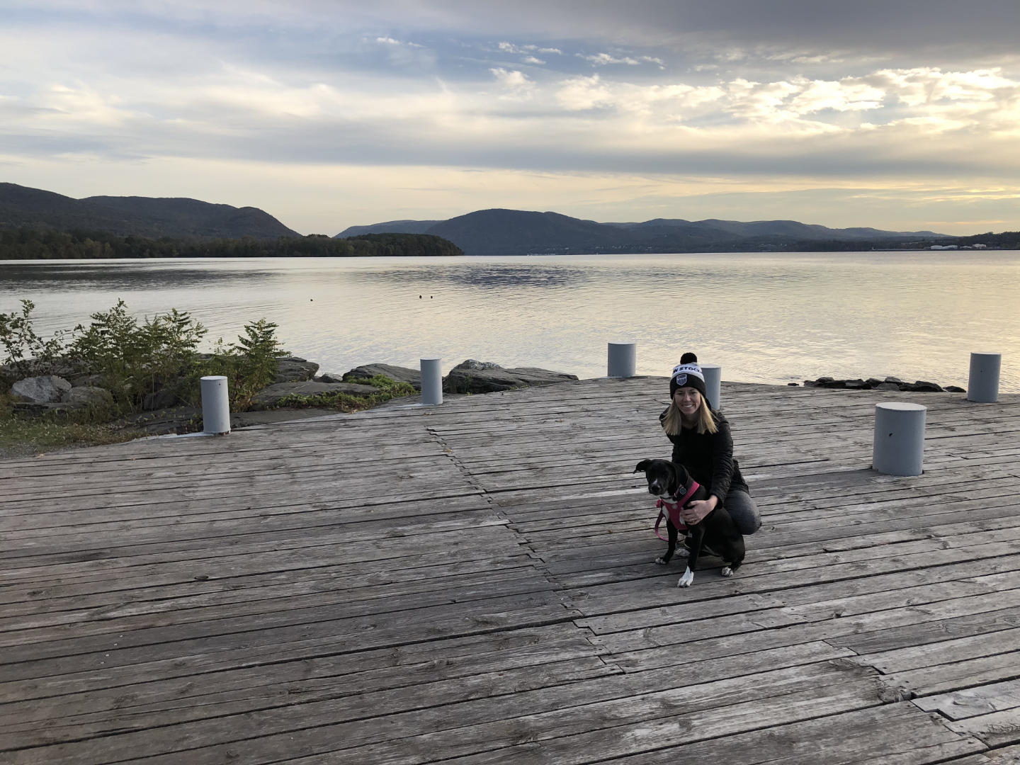 My wife and dog at Long Dock Park in Beacon, NY